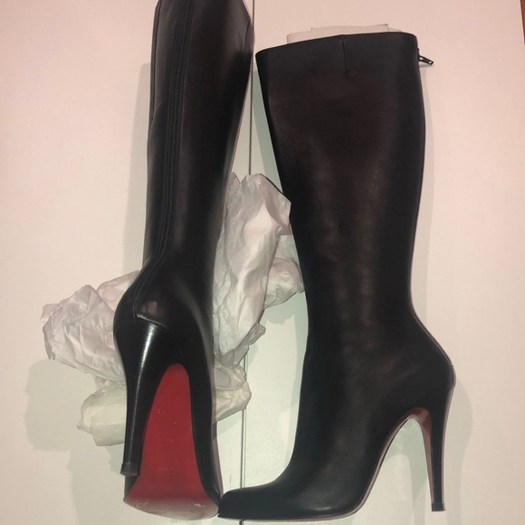 timeless design 744f0 e2233 Christian Louboutin Shoes | Black Leather High Heel Boots ...